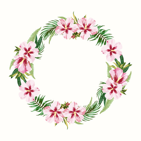 palm wreath: Vector round frame with pink hibiscus flowers. Illustration