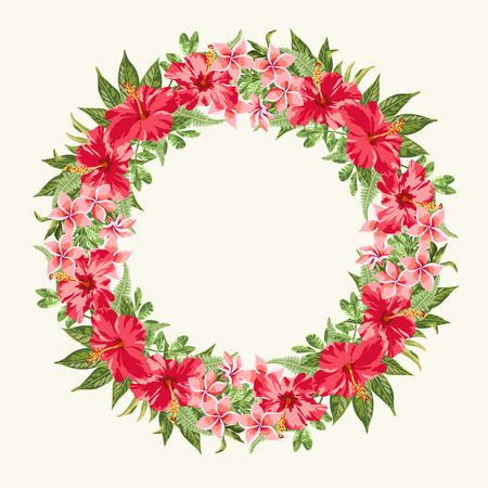 round frame with red hibiscus flowers on white background.