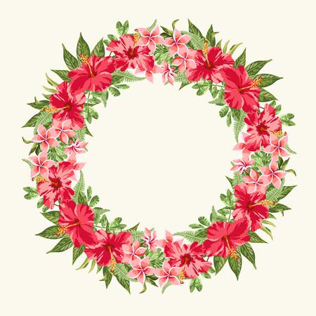 marcos redondos: Marco redondo con flores de hibisco rojo sobre fondo blanco. Vectores