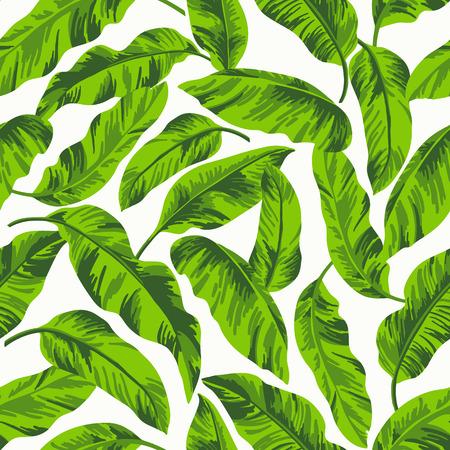 Modelo inconsútil exótico con hojas tropicales sobre un fondo blanco Foto de archivo - 39923207