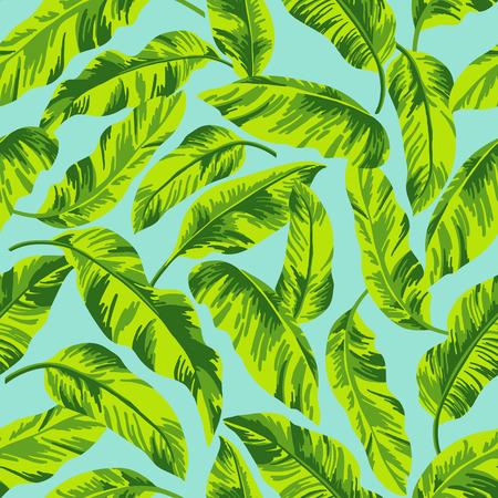 파란색 배경에 열대 잎 원활한 이국적인 패턴. 벡터 일러스트 레이 션.