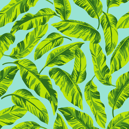 Seamless exotic pattern with tropical leaves on a blue background. Vector illustration. Vettoriali