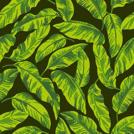 검정색 배경에 열대 잎 원활한 이국적인 패턴