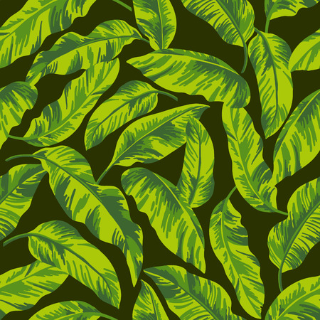 Seamless exotic pattern with tropical leaves on a black background