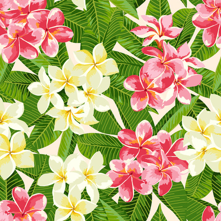 pink plumeria: Seamless exotic pattern with tropical leaves and flowers