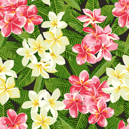 Seamless exotic pattern with tropical leaves and flowers