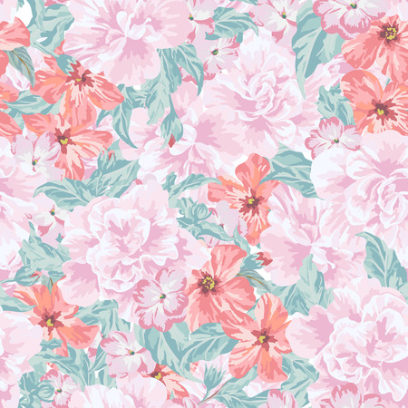 pink flower background: Seamless romantic pattern with leaves and flowers in pastel colors. Vector illustration. Illustration