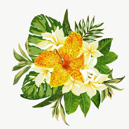 azal�e: Bouquet de fleurs tropicales et des feuilles isol�es sur fond blanc. Vector illustration.