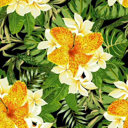 Motif exotique transparente avec les feuilles et les fleurs tropicales sur un fond noir