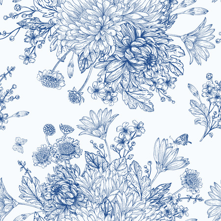 Beautiful vintage seamless pattern with bouquets of blue flowers Vector