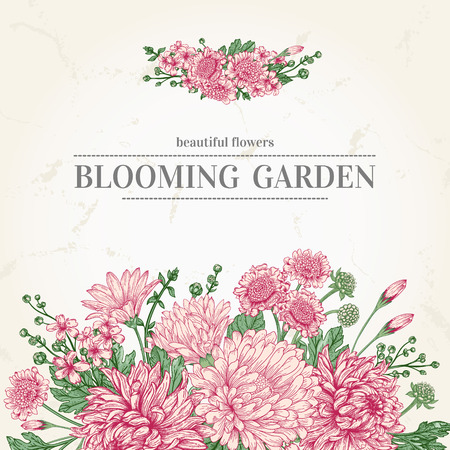 summer card with garden flowers in vintage style Ilustracja