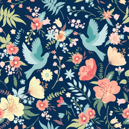Cute seamless pattern with birds and flowers in pastel colors. Çizim