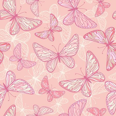 papillon rose: Seamless pattern avec des papillons roses décoratifs.