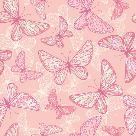 butterfly in hand: Seamless pattern with decorative pink butterflies. Illustration