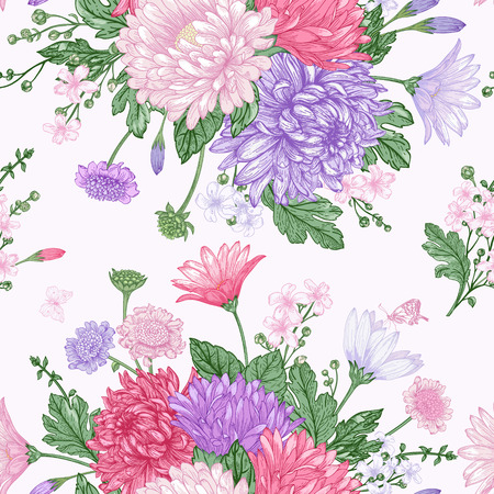 butterfly on flower: Beautiful vintage seamless pattern with bouquets of summer flowers