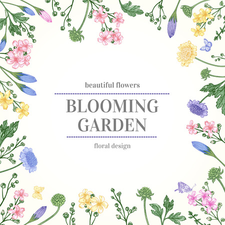 흰색 배경에 꽃과 허브 귀여운 카드 일러스트