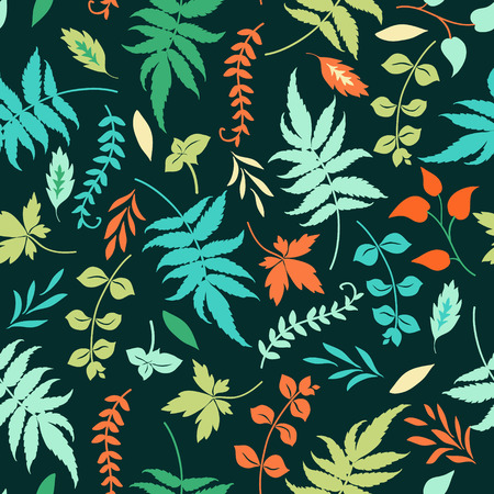 lea: seamless pattern with colorful leaves on a dark blue background.