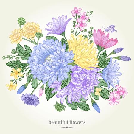 marguerite: Carte vintage avec un bouquet de fleurs sur un fond blanc. Asters de jardin, chrysanth�mes, marguerites. Vector illustration. Illustration