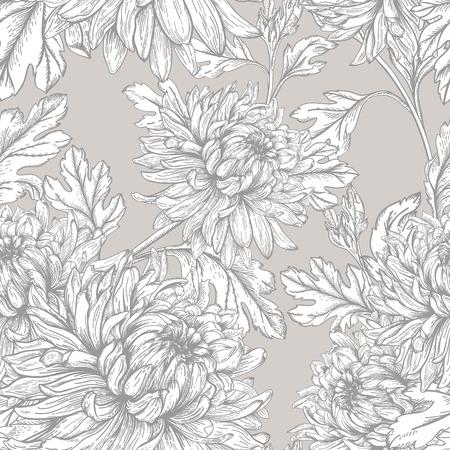 Vintage seamless floral pattern with flowers chrysanthemum