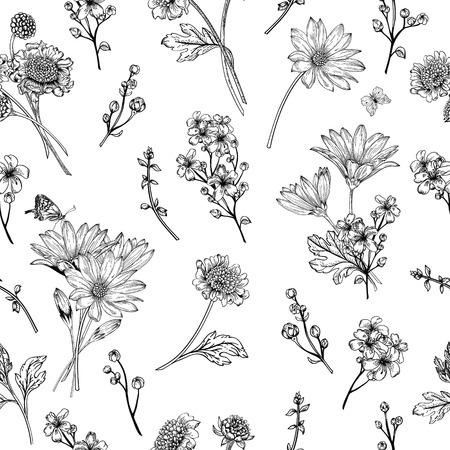 tallo: Modelo inconsútil de la vendimia hermosa con las flores sobre un fondo blanco