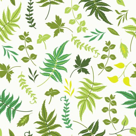 lea: seamless pattern with colorful leaves on white background.