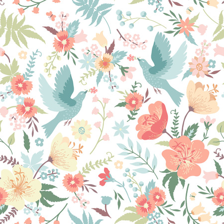 herb garden: Cute seamless pattern with birds and flowers in pastel colors. Illustration