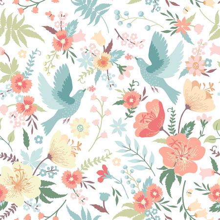 dove: Modelo inconsútil lindo con los pájaros y las flores en colores pastel.
