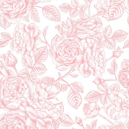 seamless vintage pattern with roses. Иллюстрация