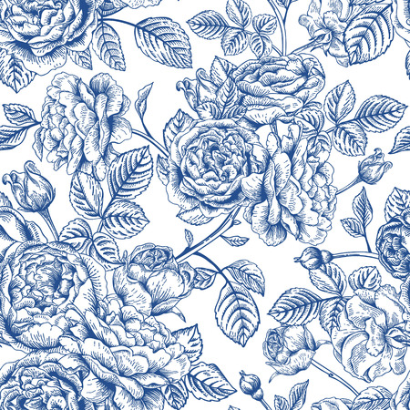 english rose: Vintage seamless pattern with garden roses in blue on a white background.