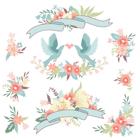 Hand drawn floral collection with vector design elements. Cute floral bouquets, love birds and ribbons in pastel colors.