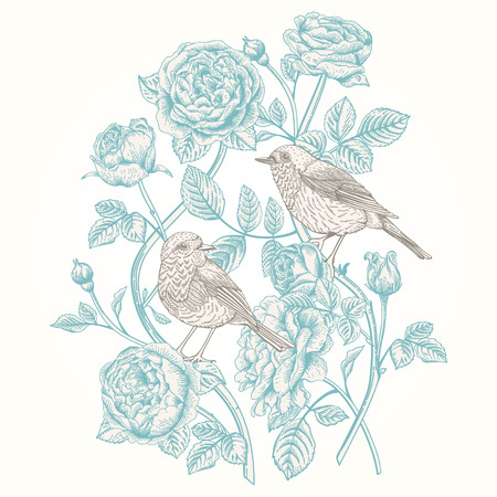 Vector vintage card with roses and birds. Иллюстрация
