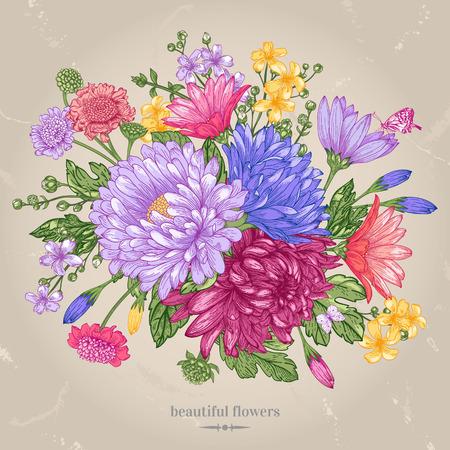 Grußkarte mit einem Blumenstrauß aus hellen Sommerblumen auf einem beige Hintergrund