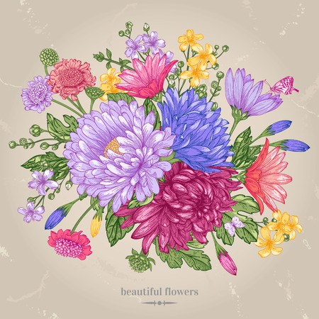 greeting card with a bouquet of bright summer flowers on a beige background