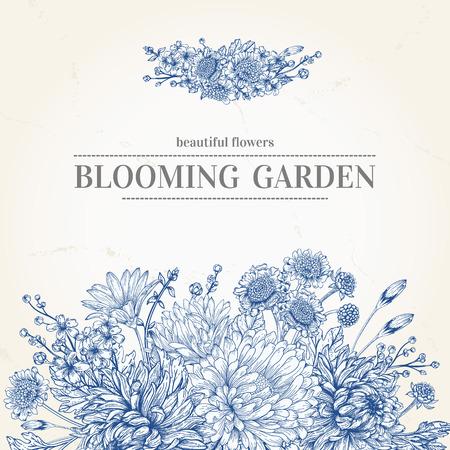 borde de flores: invitación de la boda con un ramo de flores de color azul sobre un fondo de color beige Vectores