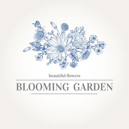 marguerite: carte avec un bouquet de fleurs de jardin dans des couleurs bleues sur un fond blanc