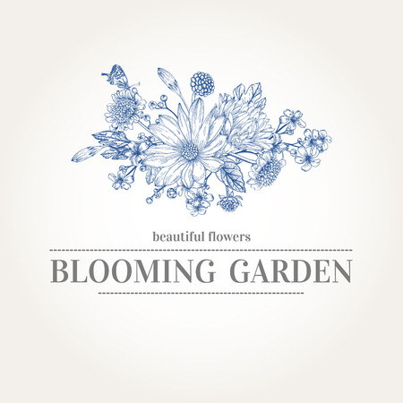 kaart met een boeket van tuin bloemen in de blauwe kleuren op een witte achtergrond