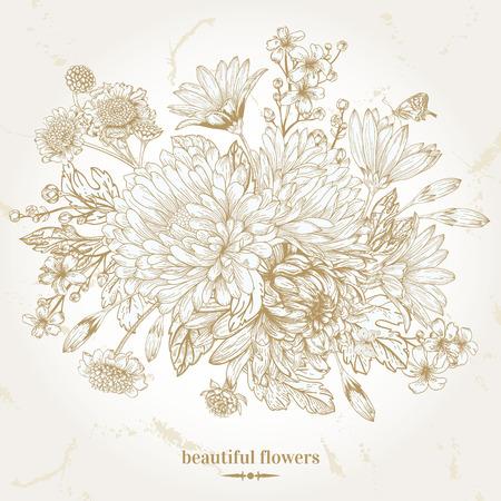 手描きの美しい花の花束とビンテージ カード。ベクトルの図。グラフィック。
