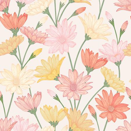 파스텔 색상의 아름 다운 꽃과 원활한 패턴