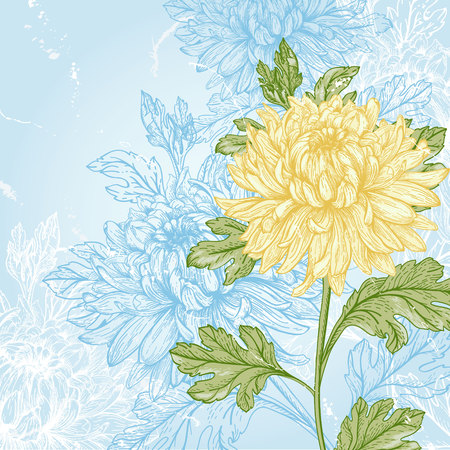 nature one painted: card with yellow flower chrysanthemum on a blue background