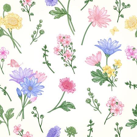 marguerite: Belle seamless vintage avec des bouquets de fleurs sur un fond blanc
