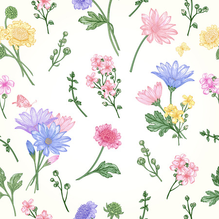 Beautiful vintage seamless pattern with bouquets of flowers on a white background Stock Illustratie