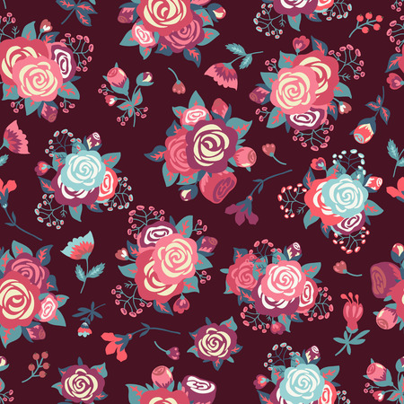 camellia: seamless pattern with decorative roses.