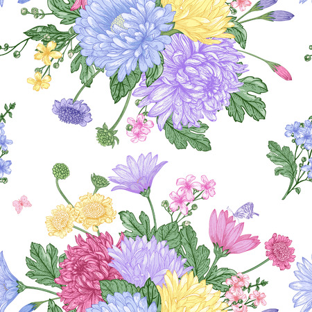 Beautiful vintage seamless pattern with bouquets of summer flowers