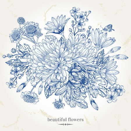 anniversario matrimonio: Disegno a mano carta d'epoca con un mazzo di fiori blu