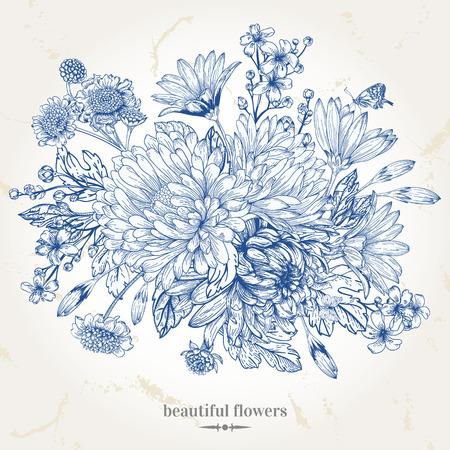 lijntekening: Hand-tekening vintage kaart met een boeket van blauwe bloemen