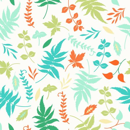herbarium: seamless pattern with colorful leaves on white background.