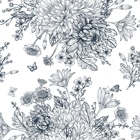 black and white line drawing: Elegant seamless pattern with bouquets of flowers on a white background Illustration