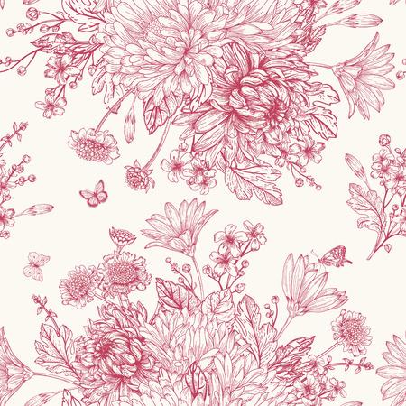 붉은 꽃의 꽃다발을 가진 아름 다운 빈티지 원활한 패턴 일러스트