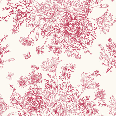 ink art: Beautiful vintage seamless pattern with bouquets of red flowers