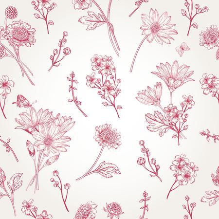白地に花模様の美しいヴィンテージのシームレス パターン